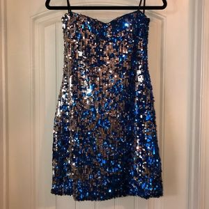Blue and Silver Sequin Strapless Dress